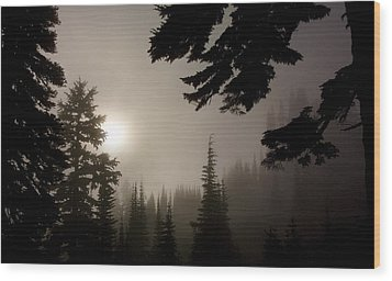 Silhouettes Of Trees On Mt Rainier Wood Print by Greg Reed