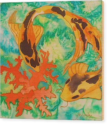 Silk Koi Wood Print by Joanne Smoley