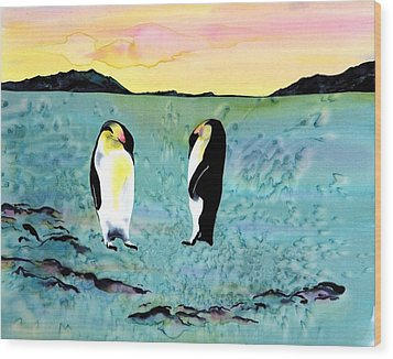 Silk Penguins Wood Print by Carolyn Doe