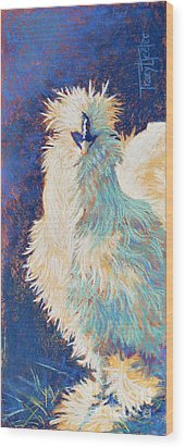 Silkie Rooster Wood Print by Tracy L Teeter