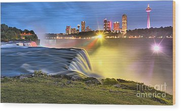 Silky Niagara Falls Panoramic Sunset Wood Print by Adam Jewell