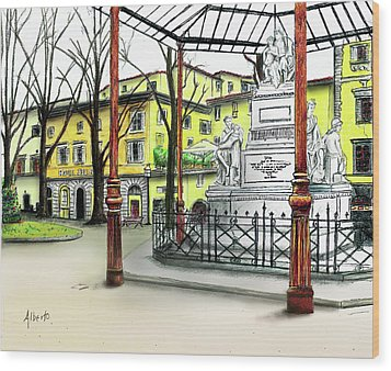 Wood Print featuring the painting Silla Hotel Piazza Demidoff Florence by Albert Puskaric