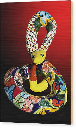 Silly Snake Wood Print by Phyllis Denton