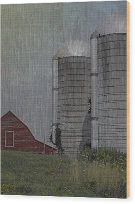 Silo And Barn Wood Print by Photographic Arts And Design Studio
