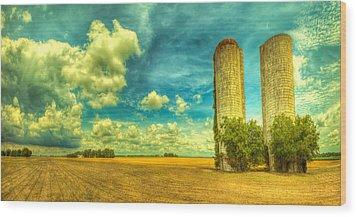 Silos Wood Print by  Caleb McGinn