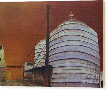 Silos With Sienna Sky Wood Print