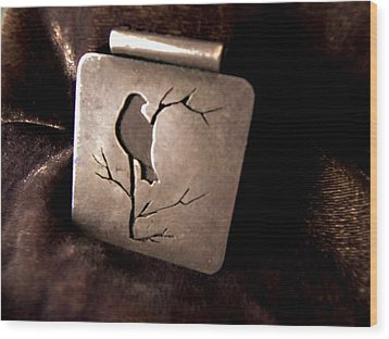 Silver Bird Wood Print