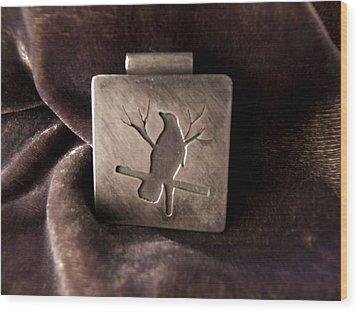 Silver Crow Wood Print