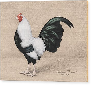 Silver Duckwing Old English Game Bantam Wood Print by Katherine Plumer