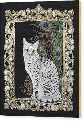 Silver Egyptian Mau Wood Print
