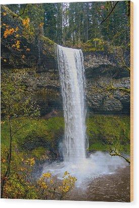 Silver Falls - South Falls Wood Print by Dennis Bucklin