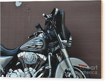 Wood Print featuring the photograph Silver Harley Motorcycle by Imran Ahmed