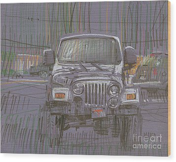 Wood Print featuring the painting Silver Jeep by Donald Maier