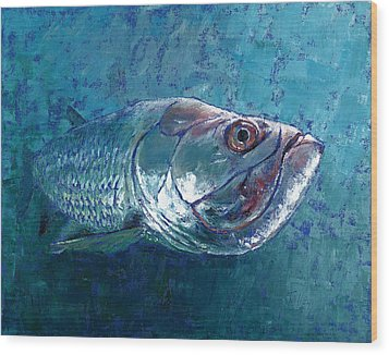 Wood Print featuring the painting Silver King Tarpon by Pam Talley