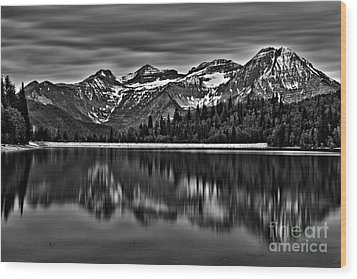 Silver Lake Reflection Black And White Wood Print