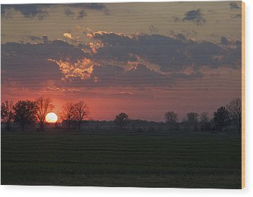 Wood Print featuring the photograph Silver Lining - Red Sunset Art Print by Jane Eleanor Nicholas
