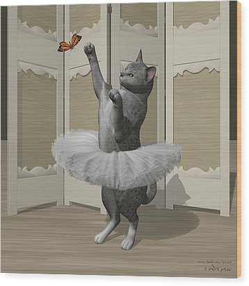 Silver Mau Ballet Cat On Paw-te Wood Print by Andre Price