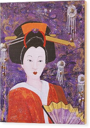 Wood Print featuring the painting Silver Moon Geisha by Jane Chesnut