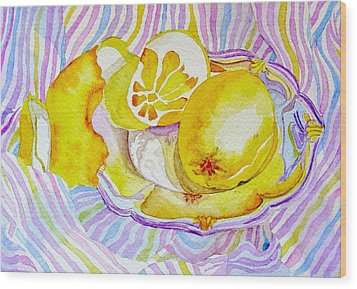 Silver Plate With Lemons Wood Print by Elena Mahoney