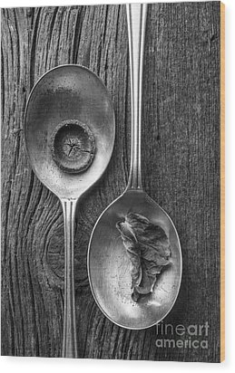 Silver Spoons Black And White Wood Print by Edward Fielding