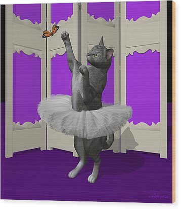 Silver Tabby Ballet Cat On Paw-te Wood Print by Andre Price