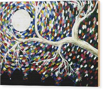 Silver Tree At Night Wood Print by Beril Sirmacek