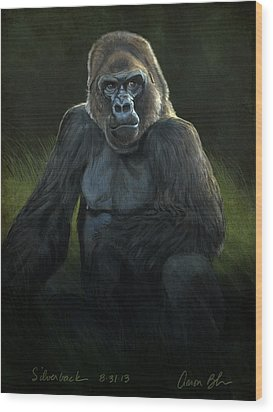 Silverback Wood Print by Aaron Blaise