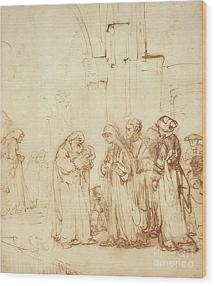Simeon And Jesus In The Temple Wood Print by Rembrandt Harmenszoon van Rijn