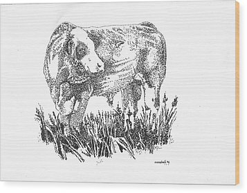 Simmental Bull Wood Print by Larry Campbell