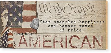 Simplified America Wood Print by Grace Pullen