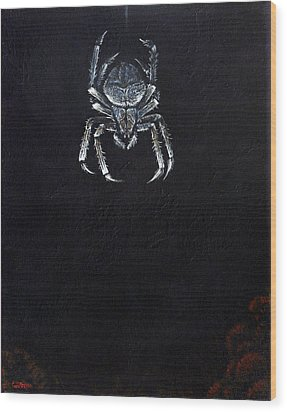 Simply Spider Wood Print by Cara Bevan