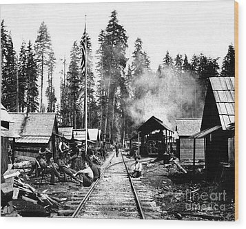 Wood Print featuring the photograph Simpson Timber Company Logging Camp by Joe Jeffers