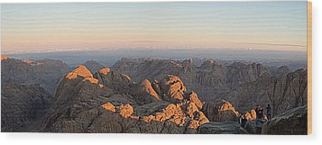 Wood Print featuring the pyrography Sinai Mountains Just After Sunrise by Julis Simo