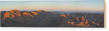 Wood Print featuring the pyrography Sinai View From St. Catherine Montain On Sunrise by Julis Simo