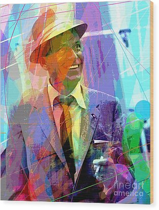Sinatra Swings Wood Print by David Lloyd Glover