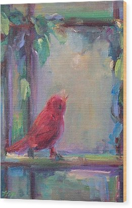 Wood Print featuring the painting Sing Little Bird by Mary Wolf