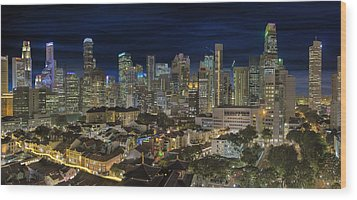 Singapore Central Business District Skyline And Chinatown At Dus Wood Print by David Gn