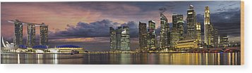 Singapore City Skyline At Sunset Panorama Wood Print by JPLDesigns