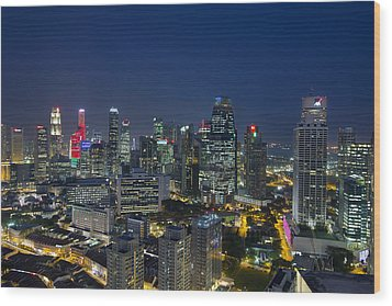 Singapore Cityscape At Blue Hour Wood Print by David Gn