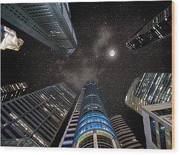 Singapore Moon Sky Wood Print by John Swartz