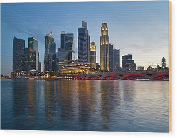Singapore River Waterfront Skyline At Sunset Wood Print by JPLDesigns