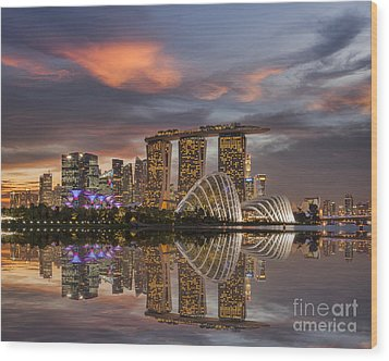 Singapore Skyline Beautiful Sunset Wood Print