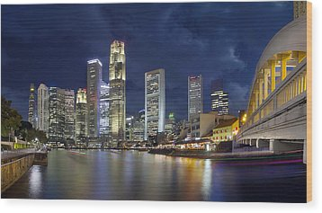 Singapore Skyline From Boat Quay Wood Print by JPLDesigns