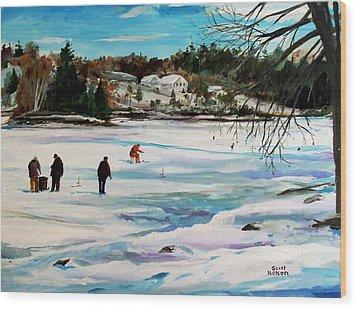 Singeltary Lake Ice Fishing Wood Print by Scott Nelson