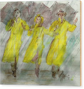 Singing In The Rain Wood Print by P J Lewis