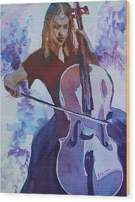 Singing The Cello Wood Print by Jenny Armitage
