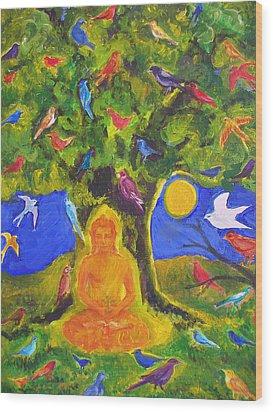 Buddha And The Birds Wood Print