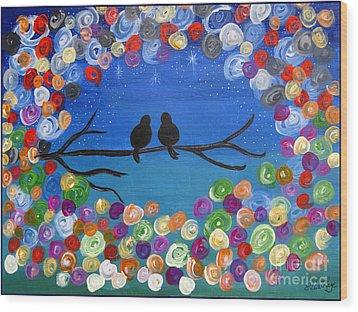 Singing To The Stars Tree Bird Art Painting Print Wood Print