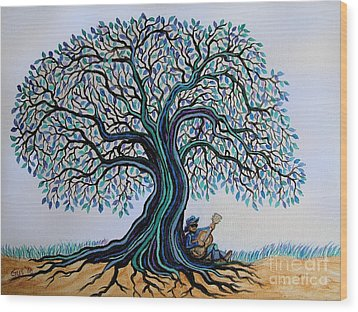 Singing Under The Blues Tree Wood Print by Nick Gustafson
