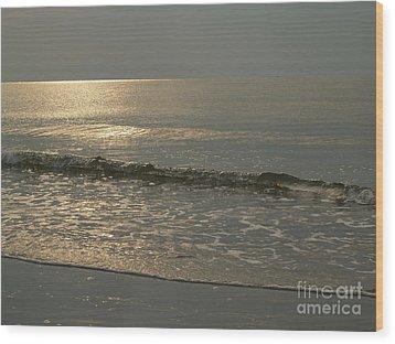 Single Breaker At Dawn On Hunting Island  Wood Print by Anna Lisa Yoder